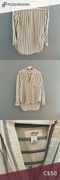 Wilfred- Striped Shirt with Linen Beautiful Wilfred Striped Button Blouse with linen. Excellent condition and an amazing piece for the fall! Wilfred Tops