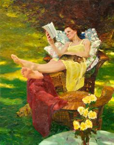 Mujer leyendo - David Hettinger