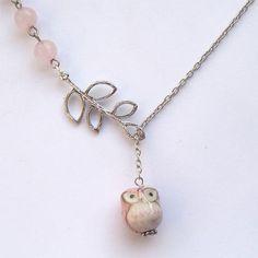 Silver Leaf Jade Porcelain Owl Necklace by gemandmetal on Etsy, $12.99