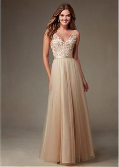 Gorgeous Tulle V-neck Natural Waistline Floor-length A-line Bridesmaid Dresses with Embroidery