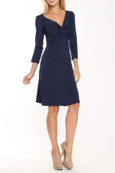 lily inc Classic Twist-Front Dress In Navy Solid