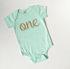 013e1f5fb Mint and gold one 1st birthday bodysuit by PaisleyPrintsSpokane One 1,  Fashion Dolls, First