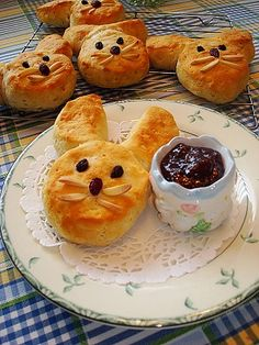 Bunny Biscuits- Make them with Pillsbury Biscuits and Cut some in half for the ears. Raisins for Eyes and Nose and some Almonds for the Whiskers