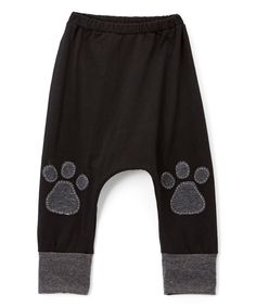 Look at this Black & Charcoal Paw Print Harem Pants - Infant, Toddler & Kids on #zulily today!