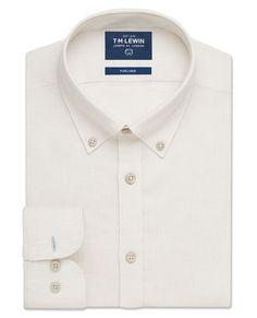 Casual Slim Neutral Button Down Collar Linen Shirt | T.M.Lewin