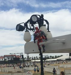"""I'll be able to see better from up here.""  At the Stagecoach Festival."