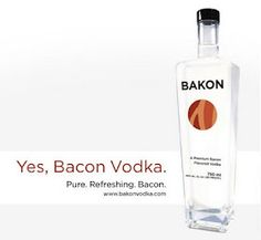 Now, this is intriguing -- BACON VODKA! It's a superior quality potato vodka with a savory bacon flavor, and it's clean, crisp, and delicious! This is the only vodka you'll ever want to use to make a Bloody Mary, and it's a complementary element of both sweet and savory drinks.