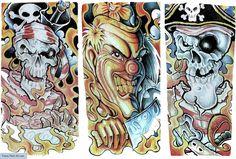 Free+Tattoo+Flash+Outlines | Killer Clown Skull Pirates Upper Arm Or Sleeve Tattoo Flash Sheet