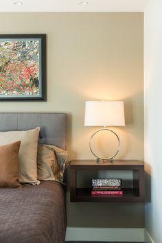 Floating nightstand in guest bedroom