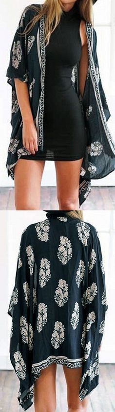 Blue Leaf Print Open Front Batwing Sleeve Kimono - beach necessary item - cover up outside the swimsuits Find it in #choies