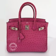 30cm Fuschia Birkin in Ostrich with Palladium Hardware - Preloved.  Pretty in pink! A mint condition bag in this much sought after combination. For more info: whatsapp +44 7887 409934 or https://lilacblue.com/product/30cm-fuschia-birkin-ostrich-palladium-preloved-2/ #hermeslondon #palladium #hermes #ostrich #fuschia #exotic #birkin #b30 #lilacbluelondon