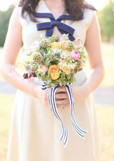 Lovely bouquet with navy striped ribbon by Birdie in the Blueberry Hill Events design. Photo by Aaron Snow Photography. #wedding #bouquet #stripes #pastel #navy