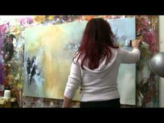 "▶ Abstract acrylic painting Demo - Abstrakte Malerei ""Windgeflüster"" by Zacher-Finet - YouTube"