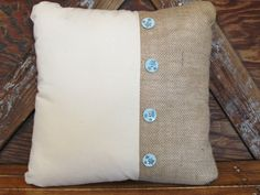 Rustic Chic pillow with light blue buttons