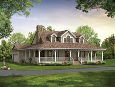 This Country classic features an elaborate wraparound porch.  Country House Plan # 741041.