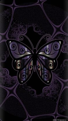 By Artist Unknown. Purple Wallpaper, Butterfly Wallpaper, Heart Wallpaper, Cellphone Wallpaper, Wallpaper Backgrounds, Planets Wallpaper, Butterfly Painting, Butterfly Flowers, Beautiful Butterflies
