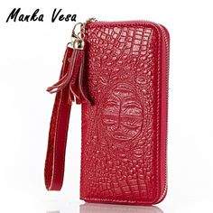 Manka Vesa 2017 New Leather Women Wallets Leather Female Clutch Wallets Crocodile Print Alligator Embossed Long Purse #Affiliate