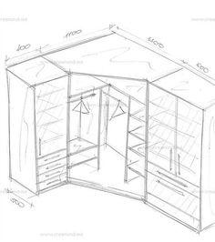 Угловой шкаф с пеналами в спальню