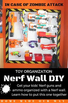 Create a Nerf wall for your kids to organize their gear and ammo. Free DIY plans included | kids rooms | toys | storage | vertical | pegboard | bins | hooks | simple DIY | #nerfwall #nerfgun #organize #toys Nerf Gun Storage, Toy Storage, Kids Bedroom Storage, Toy Rooms, Kids Rooms, Room Boys, Home Organization Hacks, Do It Yourself Home, Diy Wall
