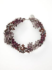 Tom Binns Oversize Purple Crystal Floral Necklace