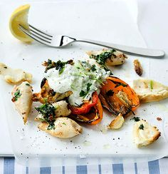 Charred sweet pepper topped with seared coriander, garlic calamari tubes and tzatziki. Vegetable Snacks, Vegetable Salad, Fish Recipes, Healthy Recipes, Healthy Meals, Woolworths Food, Calamari, Stuffed Sweet Peppers, Tzatziki
