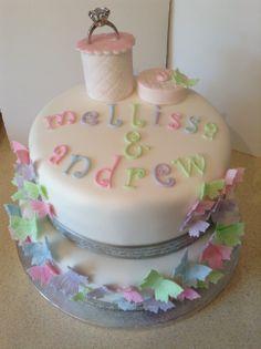 Pastel Butterflies Engagement Cake