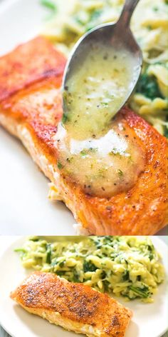 fish recipes This Easy Lemon Butter Salmon recipe makes an elegant and delicious dinner. Seared in a skillet on the stove top and ready in under 20 minutes! Cooktoria for more deliciousness! Butter Salmon, Lemon Butter, Salmon Sauce, Fish Sauce, Salmon Dishes, Seafood Dishes, Salmon Food, Easy Dinner Recipes, Easy Meals