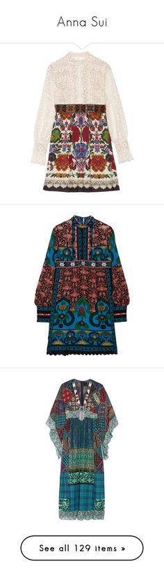 """Anna Sui"" by lorika-borika on Polyvore featuring dresses, anna sui, vestidos, mini dress, pink dress, short lace dress, lace dress, short pleated skirt, crochet dress и scalloped dress"
