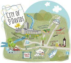 Illustrated Map of St Davids - Wales - Bek Cruddace