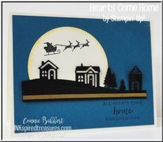 handmade Christmas card from Inkspired Treasures ... crisp mod look with die cuts evoking a town ... Santa and Sleigh silhouetted stamped across big die cut moon ... great card! ... Stampin' Up!