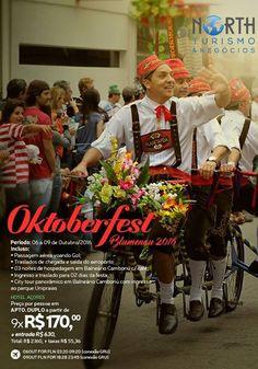 Consulte nossos agentes!  A Oktoberfest de Blumenau é um festival de tradições germânicas que ocorre na cidade de Blumenau Santa Catarina durante o mês de Outubro. Ela é uma das celebrações que surgiram no mundo similares à Oktoberfest de Munique na Alemanha. Wikipédia