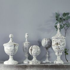 Limed Wood Decorative Finials - LOVE THIS!!!!!!!!