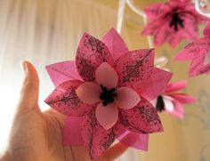 layered patterned paper flowers