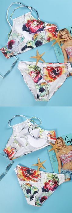 Awesome swimmers! Only with free shipping! Bohemia floral halter bikini sets, Beach Babe! You need such a swimsuit at WealFeel.com !