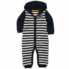 """Carter's Boys Navy Striped Hooded Coverall - Carters - Babies""""R""""Us Baby Boy Jumpsuit, Jumpsuits For Girls, Carters Baby Boys, Kids Store, Kids Pajamas, Toddler Fashion, Baby Boy Outfits, Toddler Girl, One Piece"""