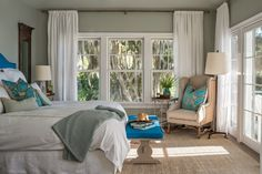 Benjamin Moore Gray Cashmere in a room with low natural lighting. one of the best blue green paint colours Blue Green Paints, Green Paint Colors, Bedroom Paint Colors, Paint Colors For Home, Soft Colors, House Of Turquoise, Home Bedroom, Bedroom Decor, Master Bedroom
