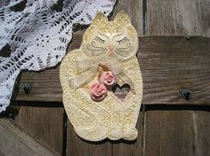 Sweet Shabby Chic Pink Rose Kitty Wall Art / by TexasAngelGifts, $34.00