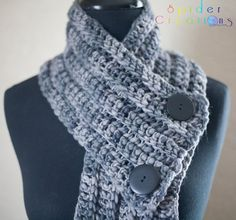 Variegated Gray Button Scarf $25.00