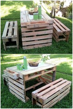Garden is a good place to enjoy breakfast with the family on the weekend, but the seating arrangement should be proper for it. So, here is an idea for creating rustic pallet garden furniture with the benches and the table. It is furniture set for 4.