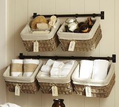 organize your bathroom with baskets don't miss more inspiration :)