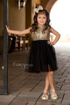 Stunning Black and Gold Sequin Dress Party Dress Princess by byFancyPants
