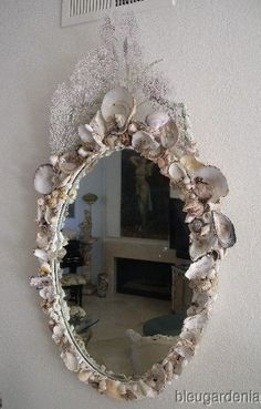"Bleu Gardenia Designs ~  Antique Shell Wall Mirror LG 47"" x 26.5"""