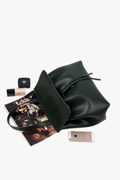 Black Leather Bucket Handbag and Crossbody Bag
