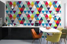 Multicoloured Geometric Triangles Mural Wallpaper