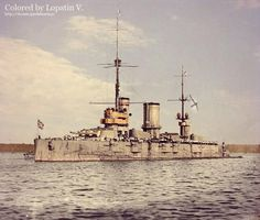 """Russian battleship """"Petropavlovsk"""". 1914.  She was sunk at her moorings on 23 September 1941 by two near-simultaneous hits by 1,000-kilogram (2,200 lb) bombs near the forward superstructure."""