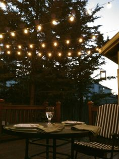Our deck in the summer... bistro lights!!