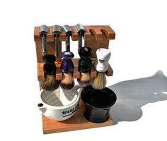 Safty razor and shaving brush stand double decker wooden, room for razors, brushes,  bowls custom made