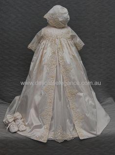 4216G: Girls' 100% Silk Christening Gown