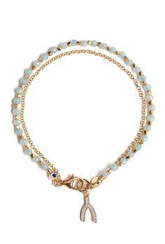 Pave Diamond Wishbone Friendship Bracelet by Astley Clarke