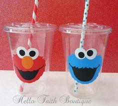 Set of 12 -  Elmo Party Cups or Cookie Monster Party Cups, Elmo Birthday Party, Sesame Street Party Decor, Elmo Decor, Cookie Monster Party by HelloFaith on Etsy https://www.etsy.com/listing/170168104/set-of-12-elmo-party-cups-or-cookie